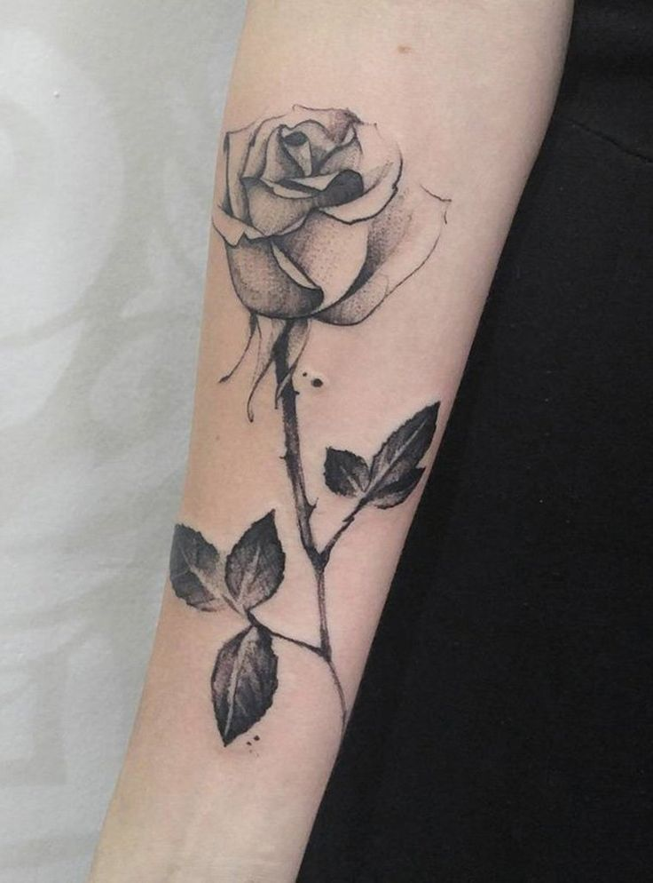 Dot Work Rose Flower Stick Tattoo On Arm