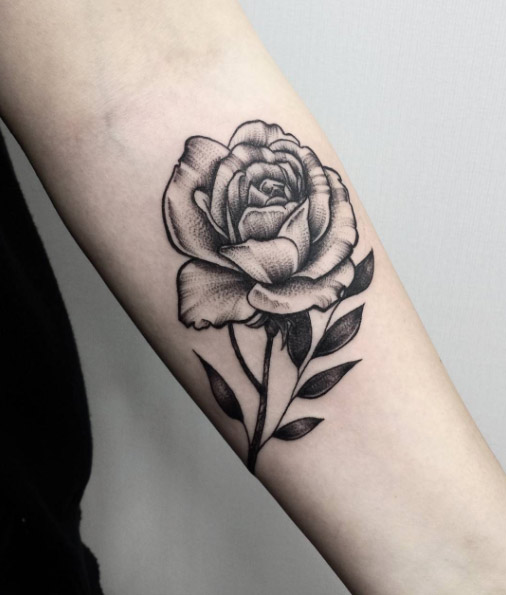Dotwork rose tattoo on left forearm for Black and gray rose tattoos