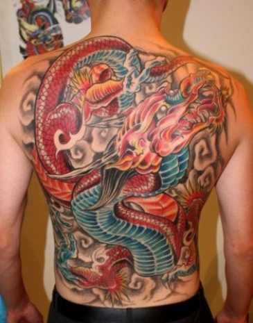 8a8e006ca Dragon Throwing Fire From Mouth Tattooed On Full Back