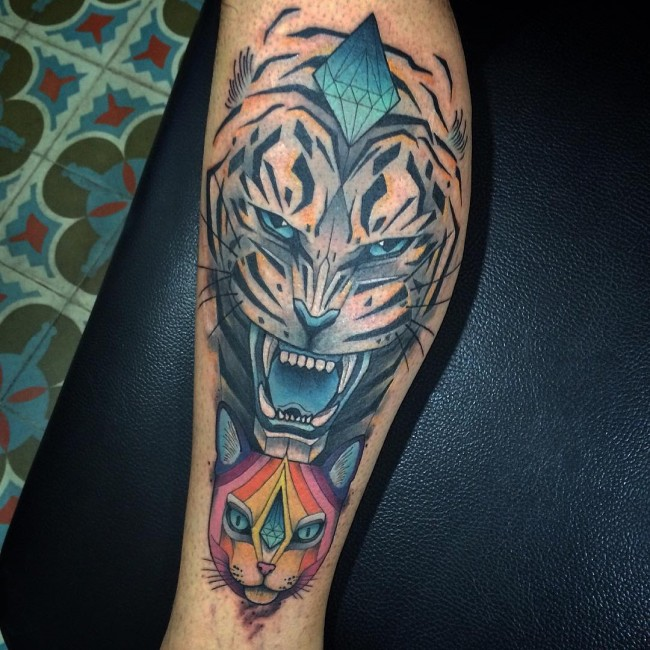 Egyptian Cat and Angry Tiger Head Tattoo On Side Leg