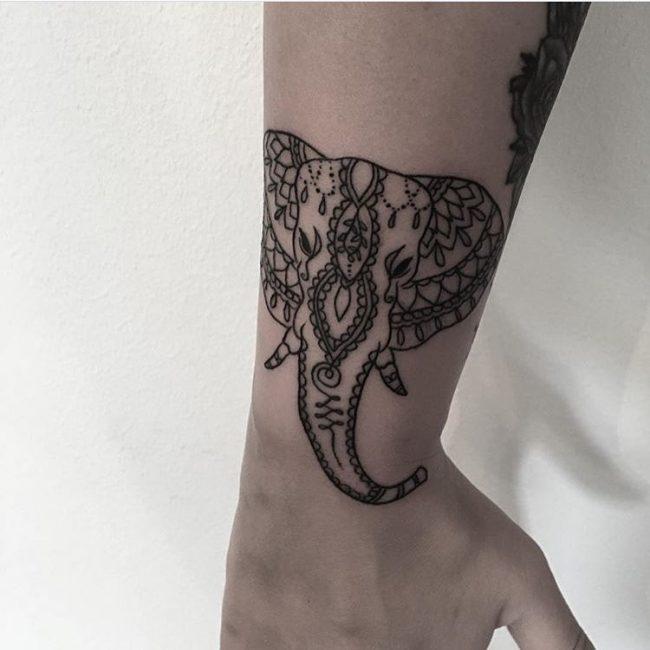Elephant Head Tattoo On Arm Sleeve