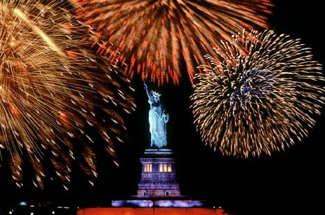 Fire Works Near Statue Of Liberty