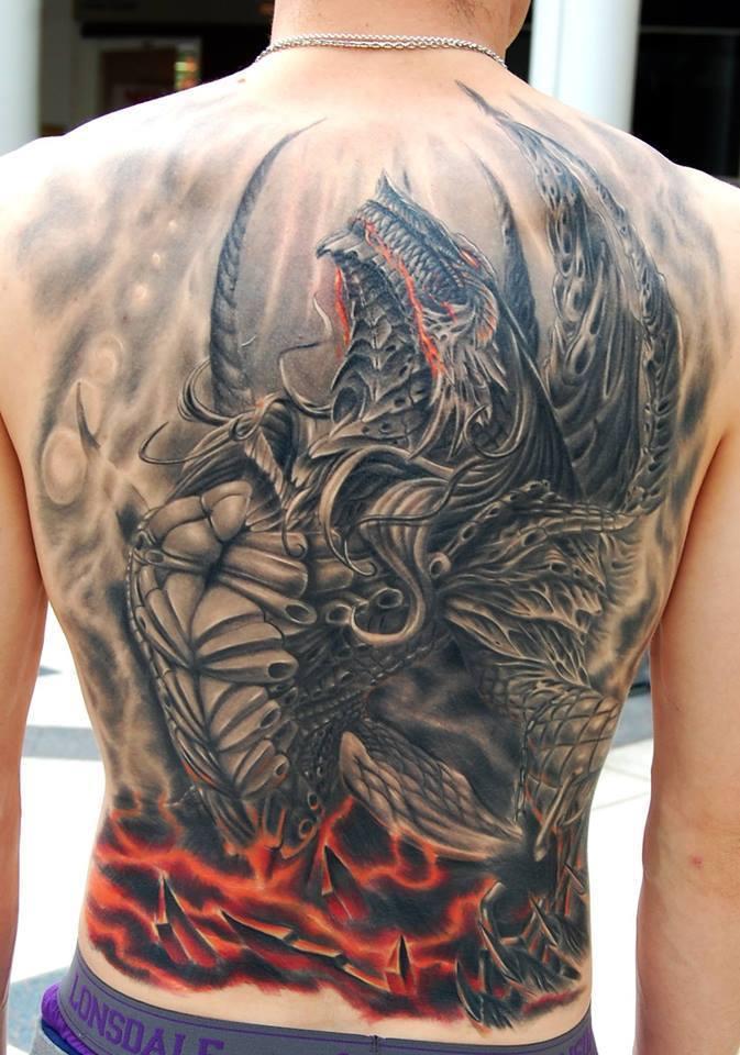 Full back evil dragon tattoo for men for Dragon back tattoo