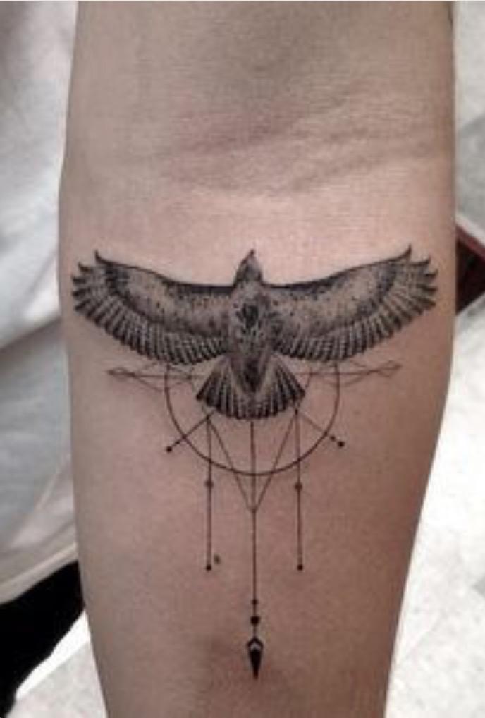 Geometric Eagle Tattoo On Forearm