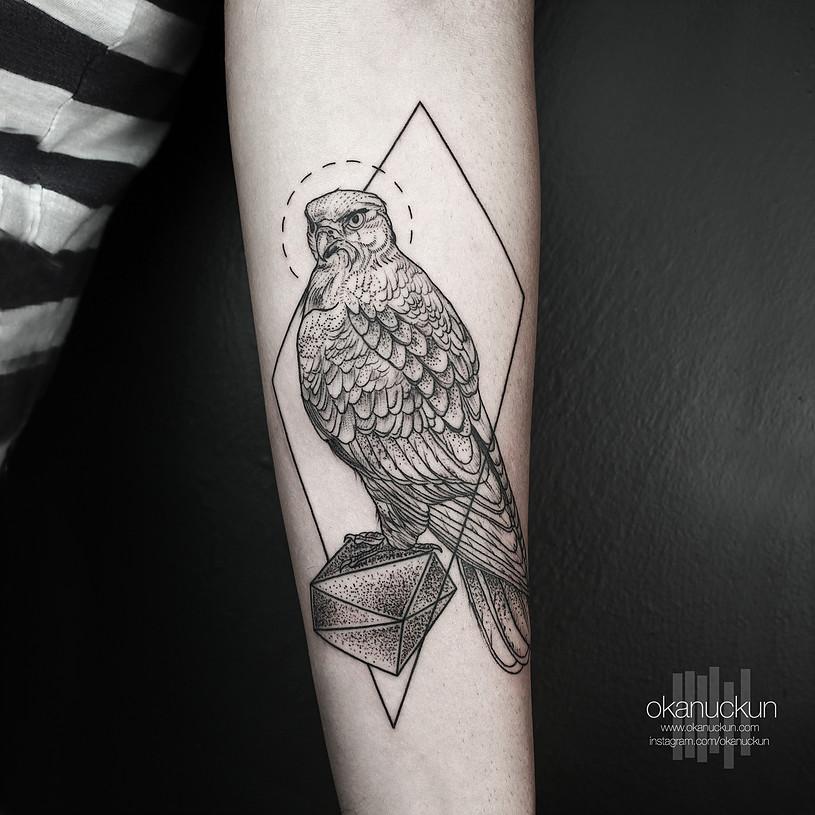 geometric eagle tattoo on left forearm by okan uckun. Black Bedroom Furniture Sets. Home Design Ideas