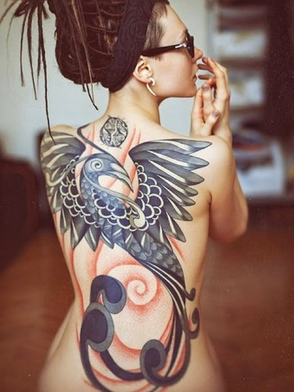Girl With Flying Phoenix Tattoo On Full Back