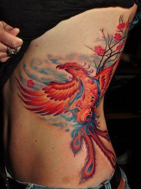 Tattoo Ribs Left: Girl With Phoenix Tattoo On Left Rib Side