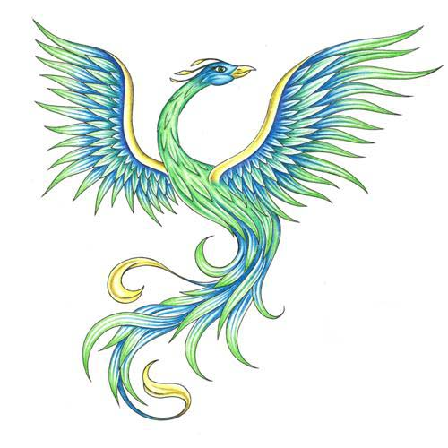 Green And Blue Ink Flying Phoenix Tattoo Design