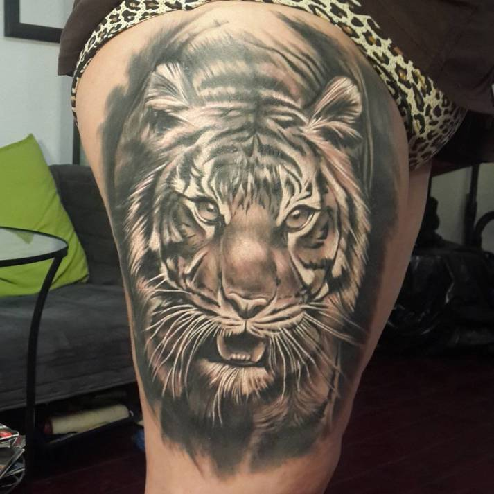 Grey And Black Angry Tiger Tattoo On Right Thigh