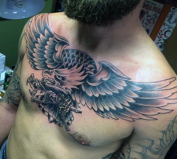 Grey and black flying eagle tattoo on chest for Black and grey chest tattoos