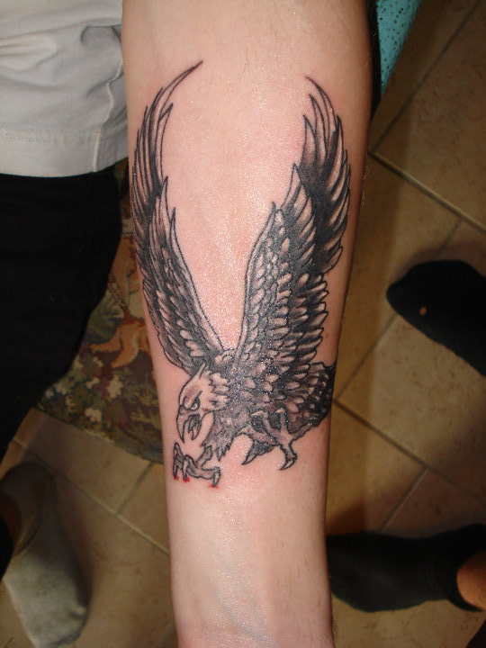Grey And Black Flying Eagle Tattoo On Forearm