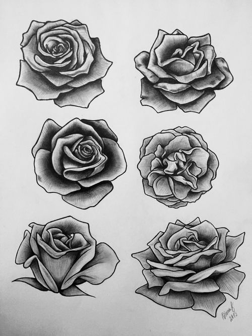 Grey and black roses tattoos designs for Rose tattoo patterns
