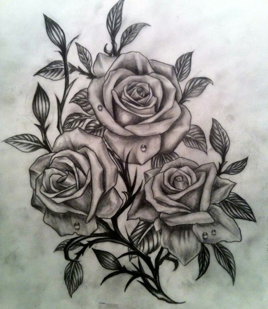 Grey And Black Three Roses Tattoo Design