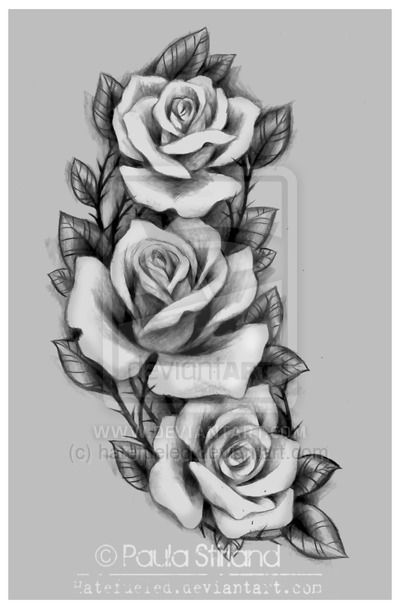 Grey And Black Three Roses Tattoos Design