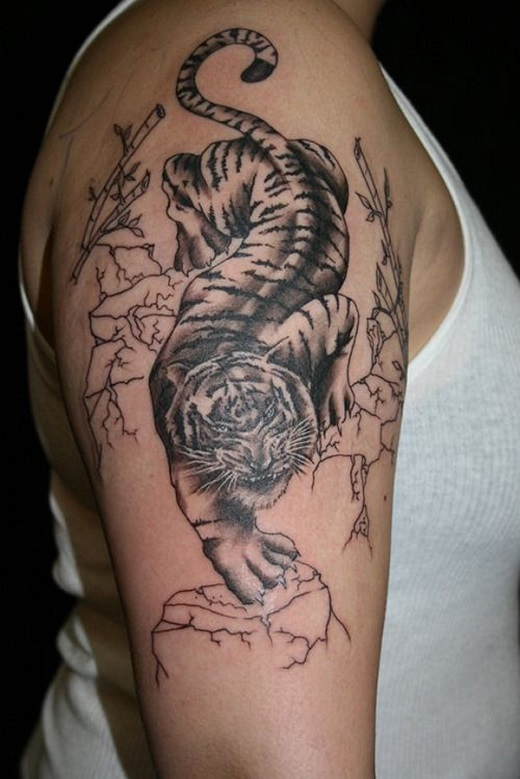 grey and black tiger tattoo on right half sleeve. Black Bedroom Furniture Sets. Home Design Ideas