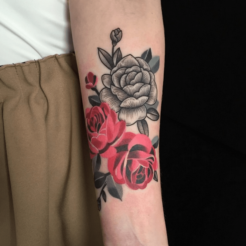 Grey And Red Roses Tattoos On Left Forearm