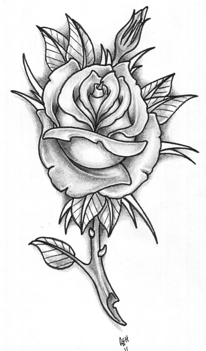 grey and white rose flower tattoo design