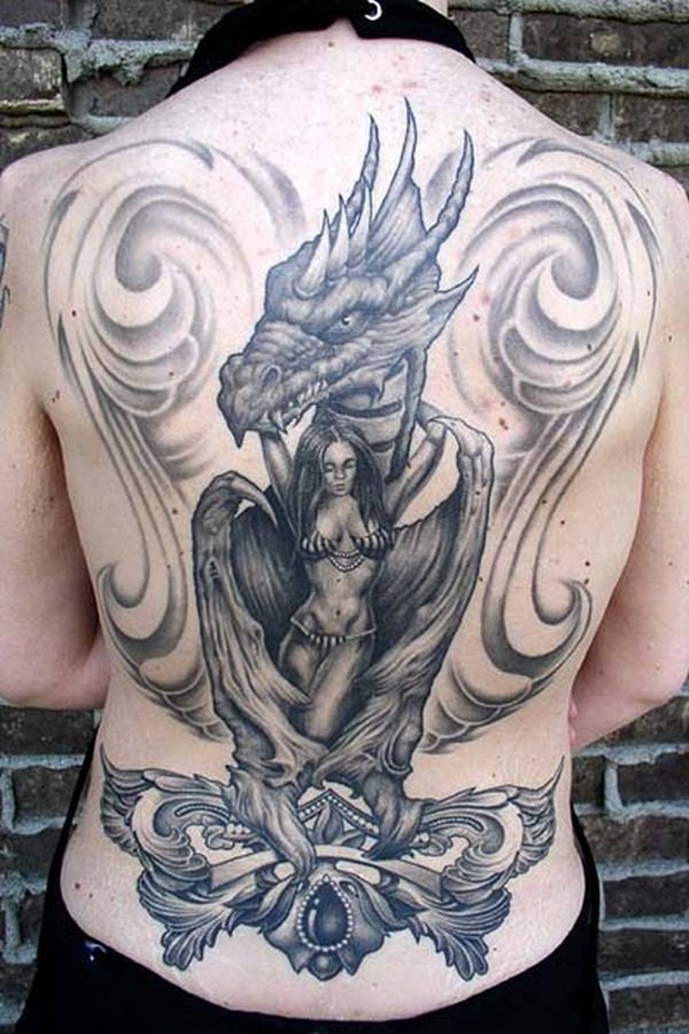 78833d523 Grey Ink Dragon Tattoo On Girl Full Back
