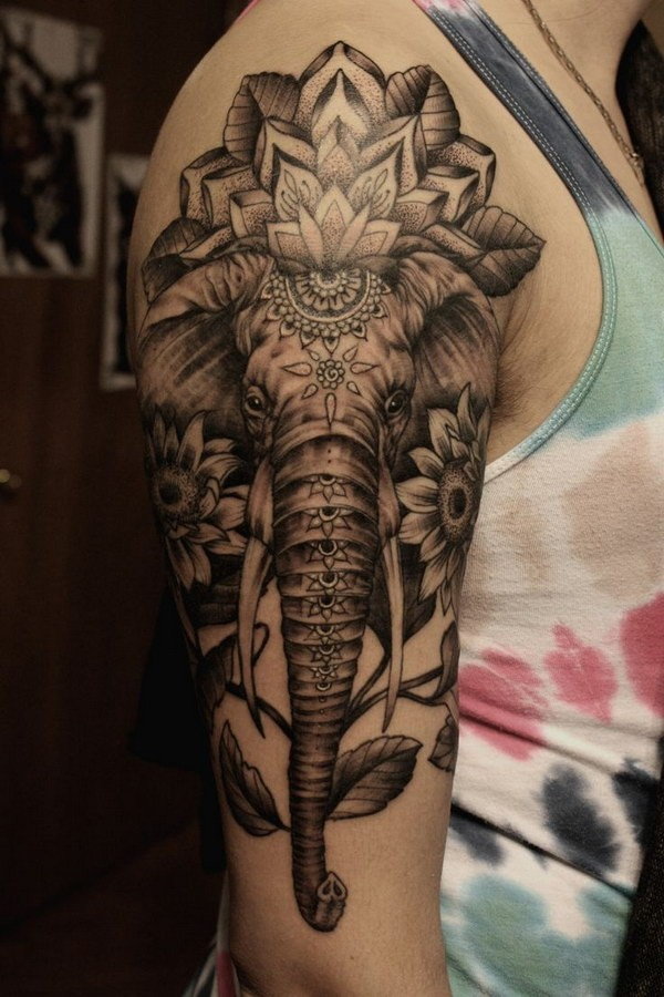 Grey Ink Mandala Flowers And Elephant Tattoo On Right Half Sleeve