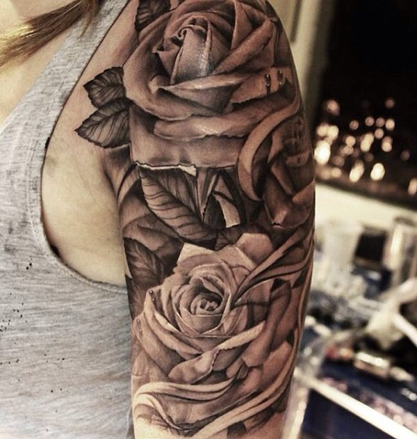 Black Ink Rose Tattoo On Girl Right Hip: Grey Ink Roses Tattoos On Girl Left Half Sleeve