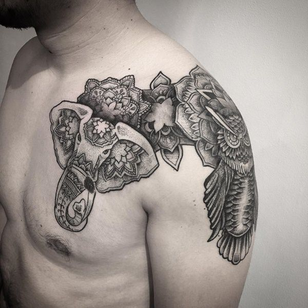 Grey Mandala Flowers And Elephant Head Tattoo On Front Shoulder