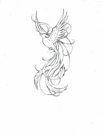 grey outline flying phoenix tattoo design. Black Bedroom Furniture Sets. Home Design Ideas