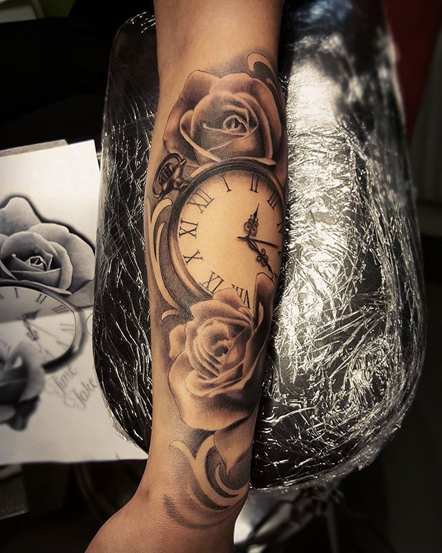 Grey Roses And Pocket Watch Tattoo On Arm Sleeve