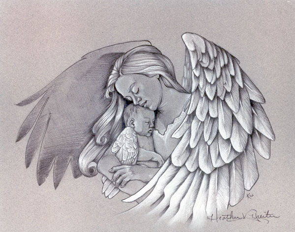 Guardian angel holding a baby angel tattoo design