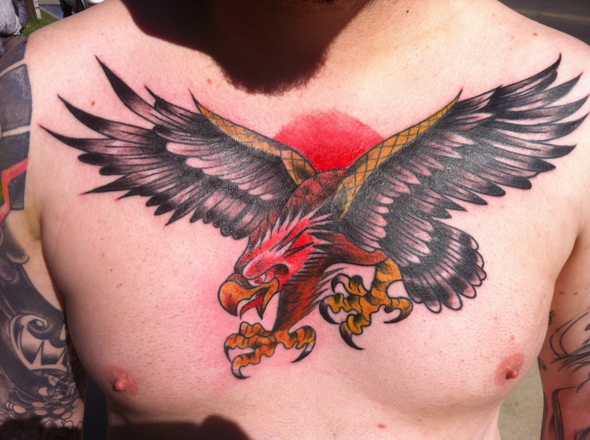 American eagle tattoos high quality photos and flash - Hunter Eagle Tattooed On Man Chest