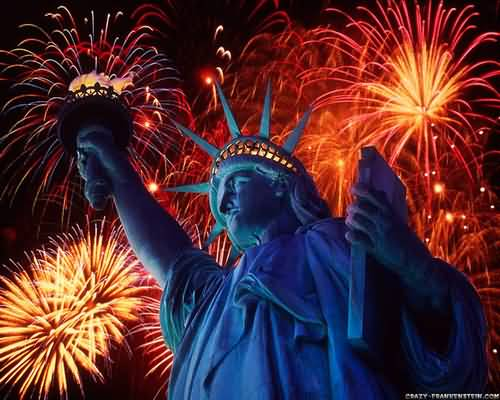 Independence Day Fire Works With Statue Of Liberty