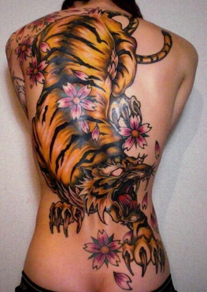 Japanese Flowers And Tiger Tattoo On Girl Full Back