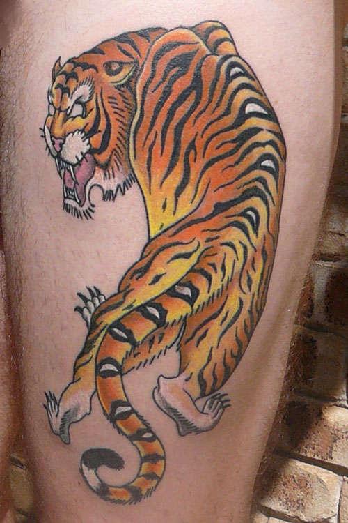 Japanese Tiger Tattoo On Side Leg