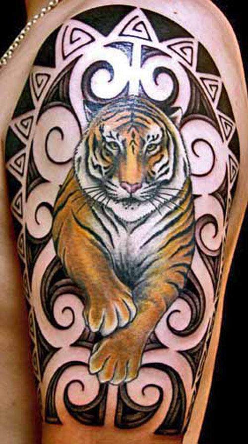 Japanese Tiger Tattoo With Polynesian Design On Half Sleeve