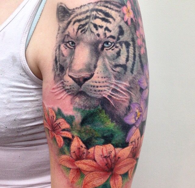 Lily Flowers And Siberian White Tiger Tattoo On Left Half Sleeve