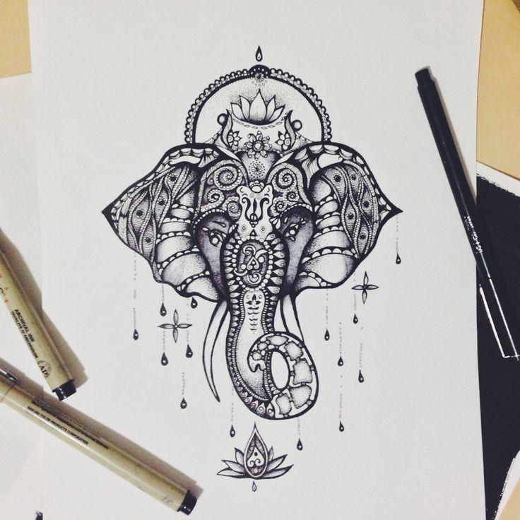 Lord Ganesha Elephant Head Tattoo Design