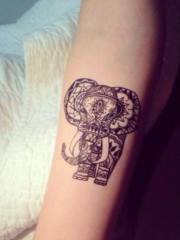 Colorful Spiritual Elephant Tattoo On Forearm
