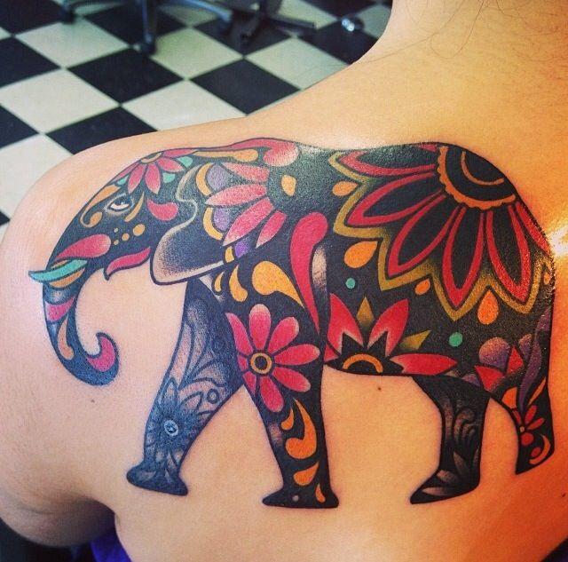 mandala elephant tattoo on girl left back shoulder. Black Bedroom Furniture Sets. Home Design Ideas