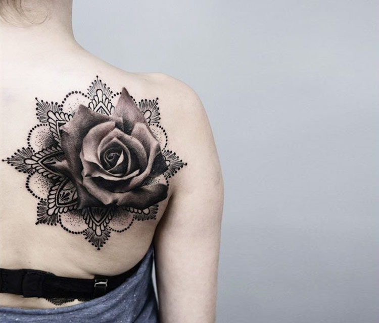 Mandala flower and grey rose flower tattoo on girl right for Rose tattoo on back shoulder