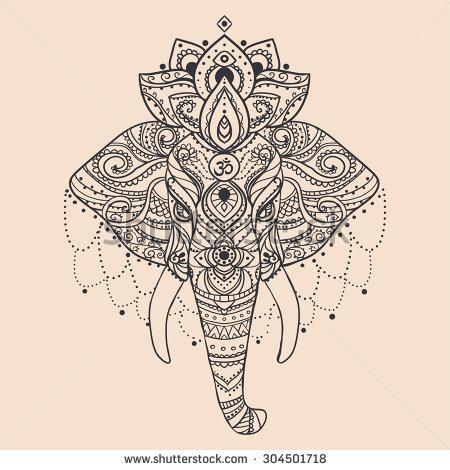 Mandala Flower Elephant Head Tattoo Design
