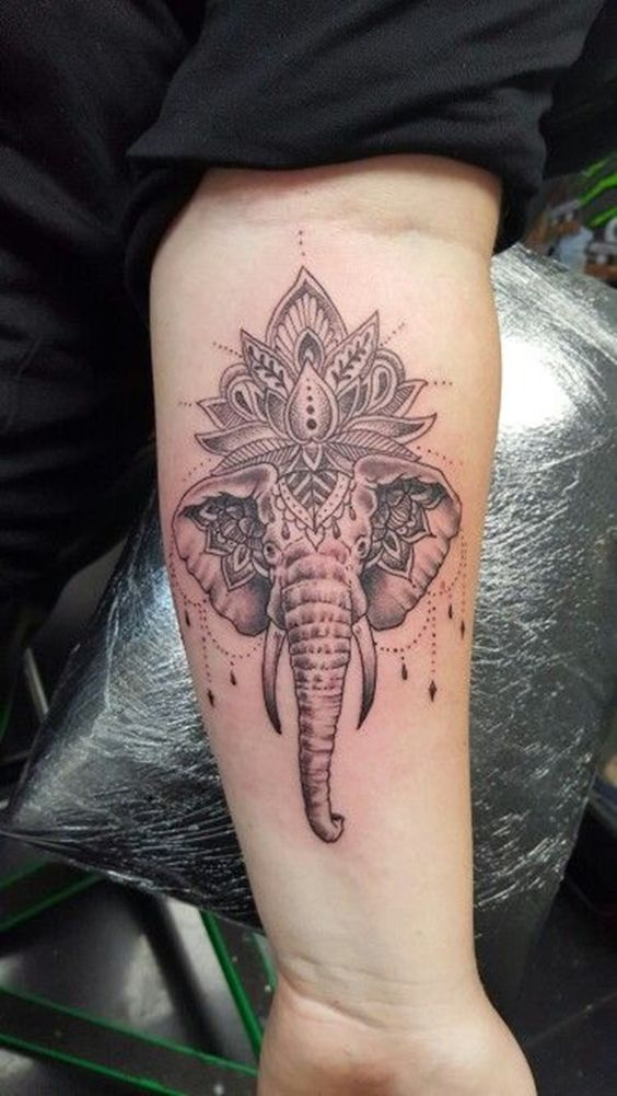 1ca079d09 Mandala Flower Elephant Head Tattoo On Forearm