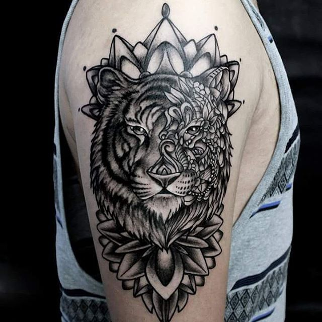 511cde2b1 Mandala Flower and Tiger With Half Mandala Face Tattoo On Half Sleeve