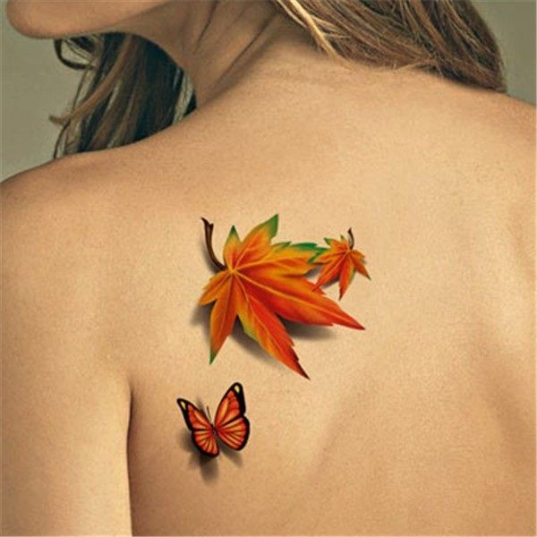 Maple Leaf And Flying Butterfly Tattoo On Left Back Shoulder