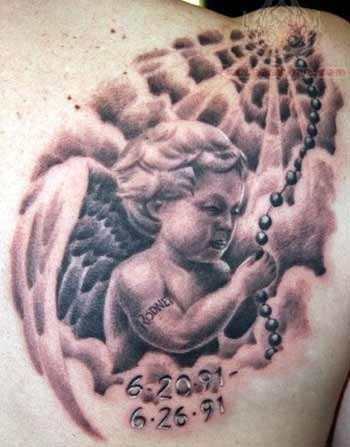 Memorial baby angel tattoo with dates