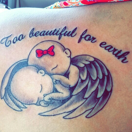041af5d57 Miscarriage Baby Twins Tattoo - Twin Babies with wings sleeping together  with wording - Too beautiful