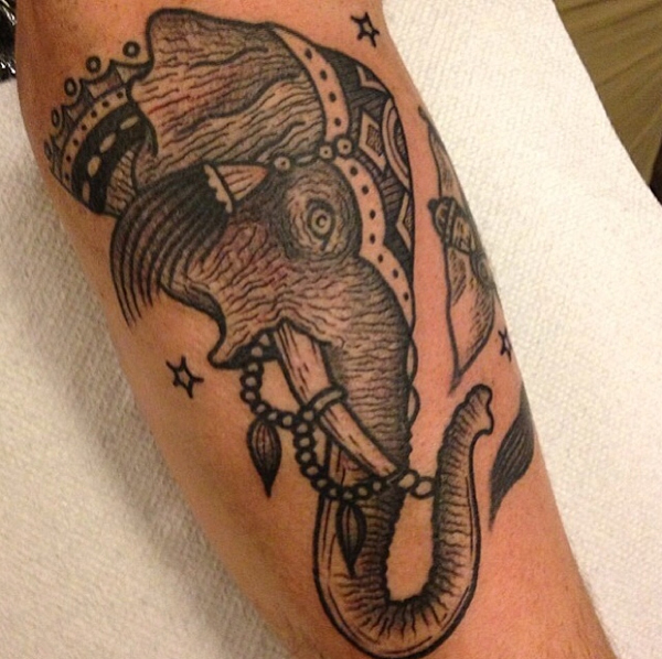Nice Black And Grey Elephant Head Tattoo On Arm