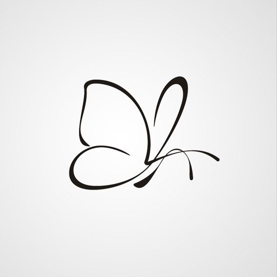 Nice Outline Butterfly Tattoo Design