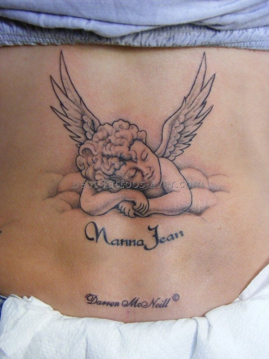 Open winged sleeping baby angel tattoo