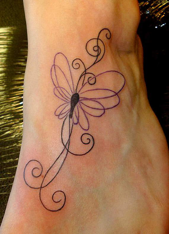 Outline Flying Swirl Butterfly Tattoo On Ankle