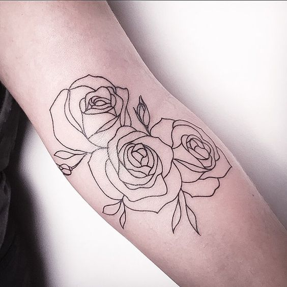 outline three rose flowers tattoo on arm sleeve