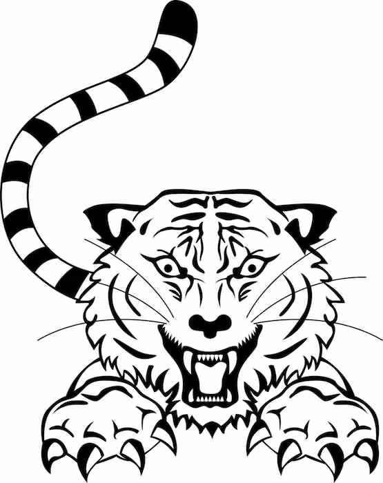 Outline Tribal Angry Tiger Tattoo Design